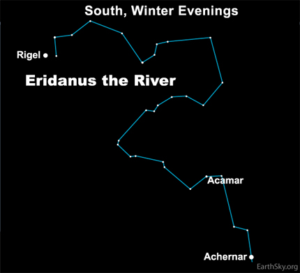 If you have a very dark sky on these January evenings - and if you're at the extreme southern U.S. or farther south - you can see Achernar, the star that marks the end of the River, aka the constellation Eridanus.