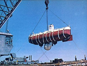 The bathyscaphe Trieste.  Photo via U. Delaware.