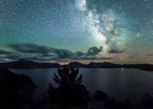 The Milky Way stretching over Oregon's Crater Lake