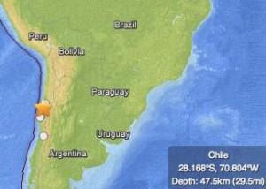 Earthquake, Chile, January 30, 2013 via USGS