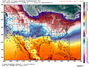 Potential temperatures on Friday, January 25, 2013 across the United States via the GFS model run. Image Credit: Weatherbell