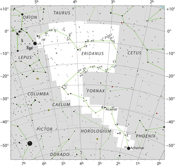 Sky chart of Eridanus with stars in black on white.