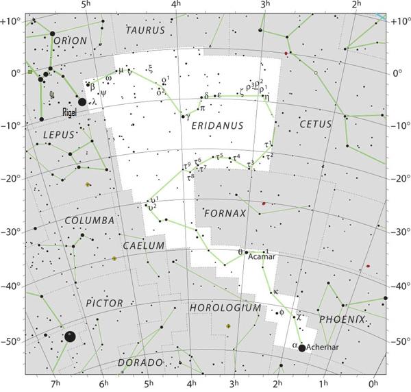 sky chart of Eridanus