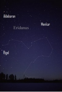 Eridanus can only be partially seen from mid-northern latitudes. Image credit: AlltheSky