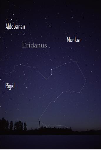 Winding constellation dipping down below horizon.