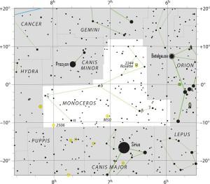 Star chart of constellation Monoceros the Unicorn.