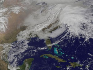 The two storm systems are merging into one nasty blizzard for the Northeast U.S. Image Credit: GOES/NASA
