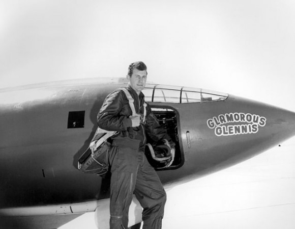 Yeager in front of the Bell X-1, which, as with all of the aircraft assigned to him, he named Glamorous Glennis after his wife.  Image via Wikimedia Commons.