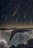 Many streaks of light in sky above a waterfall.