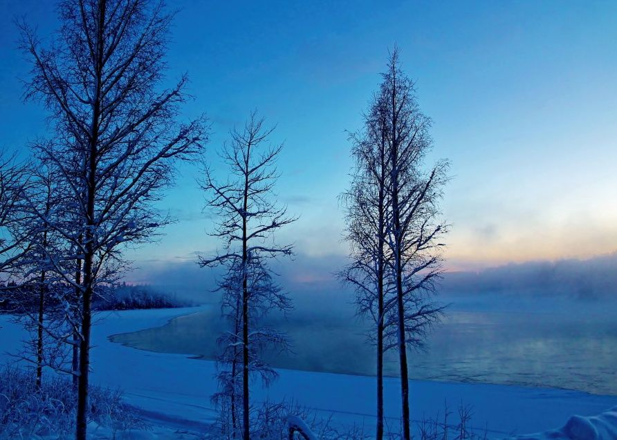 Photo of winter sunset at lulea river in northern sweden for Boden sweden