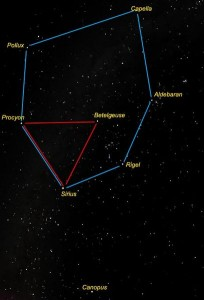 Diagram of Winter Circle containing Winter Triangle, with stars labeled.