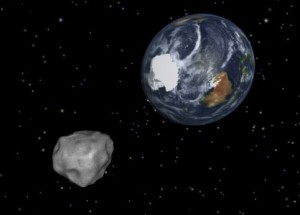Artist's concept of asteroid near Earth.  NASA image.