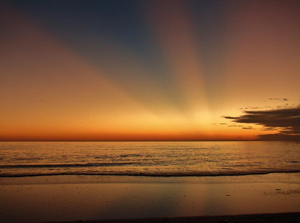 Crepuscular rays, sometimes called sunrays, via Rick Trommater.  View larger.