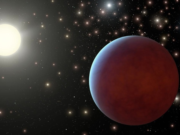 Artist's concept of gas giant planet in Beehive star cluster. All around, the stars of the Beehive cluster shine brightly in the dark. Make larger. Image Credit: NASA/JPL-Caltech