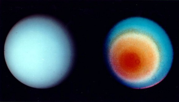 A blue featureless ball side by side with a ball that shows some colorful concentric patterns.