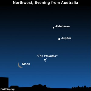 The waxing crescent moon, the Pleiades cluster, the star Aldebaran and the planet Jupiter as seen from Austrialia.
