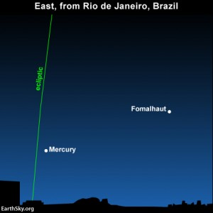 In the Southern Hemisphere, where it's early autumn, the ecliptic hits the horizon at a steep angle in the wee hours before sunrise. Hence, Mercury rises before dawn at southerly latitudes.