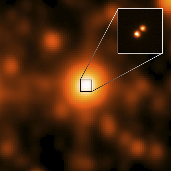 WISE J104915.57-531906 is at the center of the larger image, which was taken by the WISE satellite. It appeared to be a single object, but a sharper image from Gemini Observatory revealed that it was binary star system. Credit: NASA/JPL/Gemini Observatory/AURA/NSF