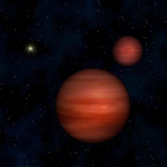 This image is an artist's conception of the binary system WISE J104915.57-531906 with the Sun in the background. Credit: Janella Williams, Penn State University.