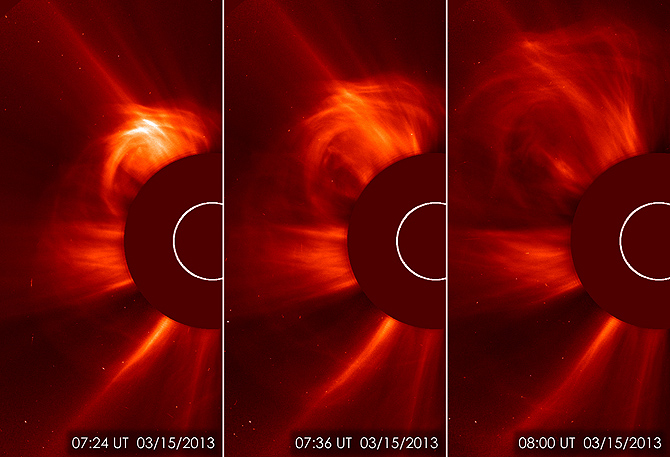 March 15, 2013 coronal mass ejection or CME, as captured by SOHO, the Solar Heliospheric Observatory. View larger.