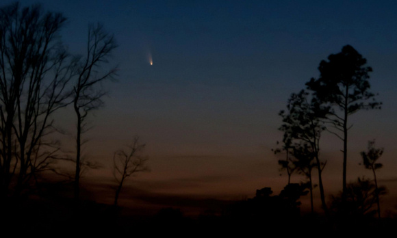 Photo of Comet PanSTARRS taken by Ken Christison from North Carolina after sunset on March 14, 2013. Thank you for the beautiful photo, Ken! Click here for a larger view