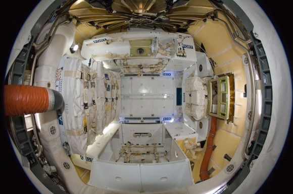 A look inside the Dragon cargo capsule after it was connected to the International Space Station. Photo via NASA