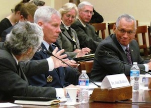 John Holdren speaks with NASA administrator Charles Bolden. Image courtesy of http://science.house.gov/