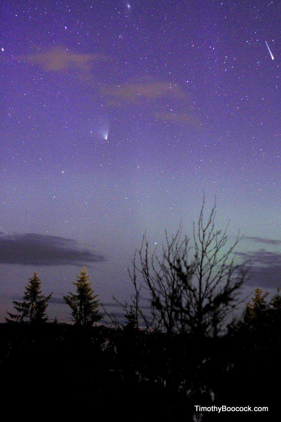 Comet PANSTARRS with Andromeda Galaxy and a shooting star via EarthSky Facebook friend Timothy Boocock. The Andromeda galaxy is near the top center of the photo. Thanks, Timothy!