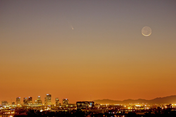 Comet PANSTARRS on March 12, 2013 near the young moon. Photo by Russ Vallelunga in Phoenix, Arizona on March 12, 2013.