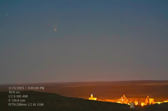 Comet PANSTARRS on March 23, 2013 from our friend Susan Gies Jensen in Odessa, Washington. She said,