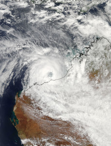 This visible image on February 26, 2013 at 0545 UTC was taken by the MODIS instrument aboard NASA's Aqua satellite, and shows the eye of Tropical Cyclone Rusty very close to making landfall near Port Hedland, Western Australia. Image Credit: NASA Goddard MODIS Rapid Response Team