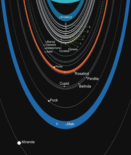 Illustration of the orbits of Uranus' rings and orbits of numerous moons.