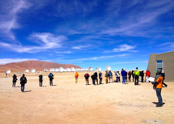 At the ALMA telescope site in northern Chile, shortly before the telescope's official inauguration on March 13, 2013.