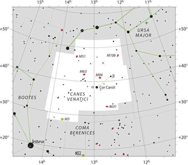 Star chart of constellation Canes Venatici.
