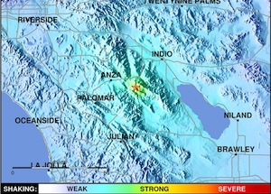 Map showing epicenter and severity of earthquake near Anza, CA on March 11, 2013.