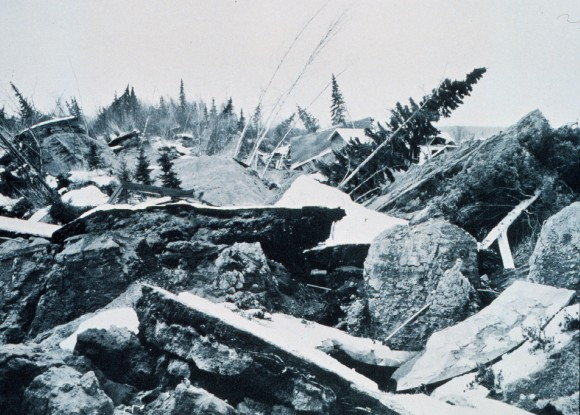 After the 1964 Good Friday Earthquake in Alaska, both human and natural areas sustained damage.