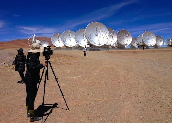 Press gathered at the ALMA site from around the world today, to witness and record the March 13 telescope dedication.