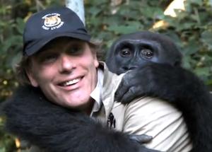 Aspinall with gorilla, Kwibi