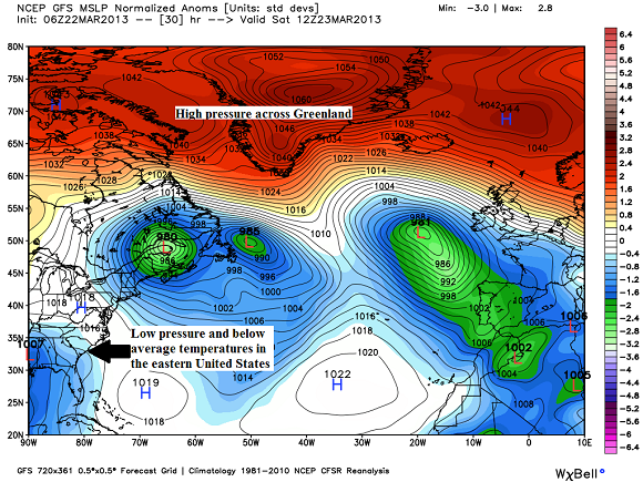 This weather pattern explains why the eastern U.S. is experiencing below average temperatures. Image Credit: Weatherbell