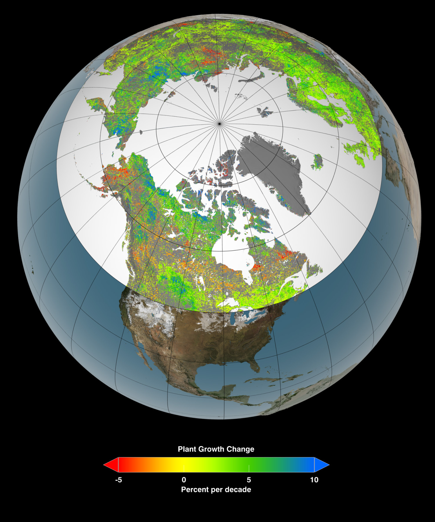 A 30-year record of land surface and satellite data sets suggests that vegetation growth at Earth's northern latitudes increasingly resembles more lush latitudes to the south. View larger.