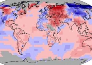 Land and ocean temperature anomalies Feb. 2013