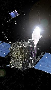 This artist's impression shows the Rosetta Orbiter in the foreground and the Lander in the background. Image credit: ESA