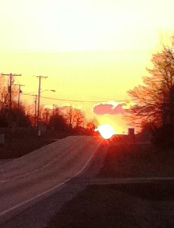 Equinox sunrise from EarthSky Facebook friend Blake E. Roderick in Pittsfield, Illinois.