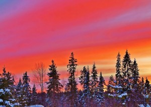 Sunset over a wintry northern Sweden