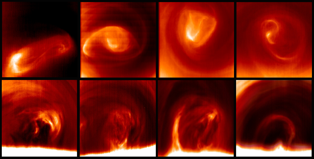 The south polar vortex of Venus changes shape every day. The images at the top of the figure show the upper cloud of Venus, 65 km above the planet's surface. The images at the bottom depict the south polar vortex of Venus 20 km further down showing the vertical extension and variability of the vortex. View larger. Photo via ©Grupo de Ciencias Planetarias - Planetary Science Group-, UPV/EHU.