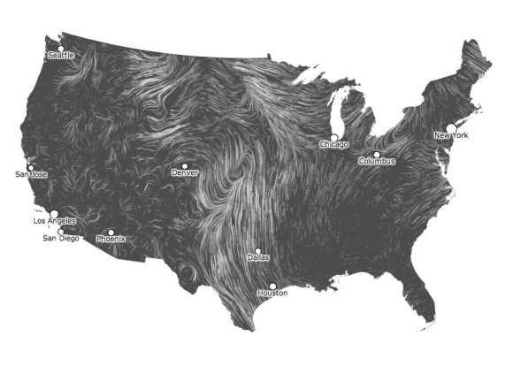 U.S. wind map on June 19, 2014 at 6:58 a.m. CST.  Top wind speed: 24.9 mph.  Average wind speed: 6.5 mph.  Via hint.fm/wind