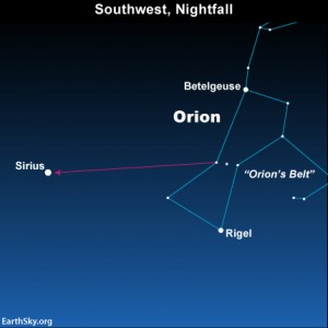 After the moon sets this evening, look for the constellation Orion and the star Sirius, the brightest star of the nighttime sky, and the brightest star-like object after Jupiter.