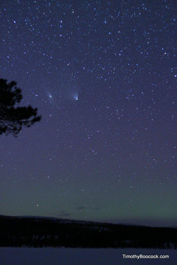 Comet PANSTARRS and Andromeda galaxy in early April 2013