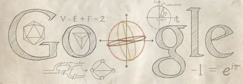 Google doodle April 15, 2013 in honor of Leonhard Euler's 306th birthday