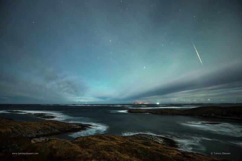 Geminid meteor, Lovund, Nordland, Norway.  Photo via Tommy Eliassen.